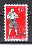 Svizzera   - 1955. Folklore. Suonatore Jodel Di Corno Delle Alpi. Horn Of The Alps Yodel Player. MNH - Costumi