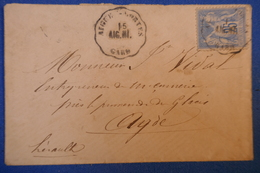 214 FRANCE PETITE LETTRE 1877 DE AIGUES MORTES A AGDE CACHET AMBULANT - 1876-1878 Sage (Type I)