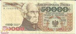POLAND 50000 ZLOTYCH 1993 PICK 159a VF - Pologne