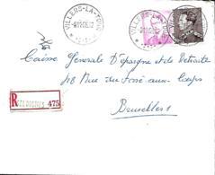 Belgique. TP 848 A + 1067   L.  Rec. Villers-la-Tour > Bruxelles 1 1966 - Cachets à étoiles