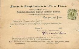 Belgique. TP 26 B  Reçu 3 Fr Virton 1889   Bureau De Bienfaisance   Pli - 1869-1888 Lion Couché