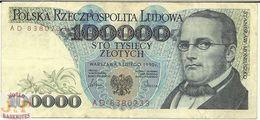 POLAND 100000 ZLOTYCH 1990 PICK 154a VF - Pologne
