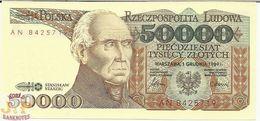 POLAND 50000 ZLOTYCH 1989 PICK 153a AUNC - Pologne
