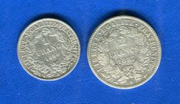 2 Fr  1887  + 1 Fr  1894  Pieces - Francia