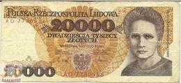 POLAND 20000 ZLOTYCH 1989 PICK 152a F/VF - Polen