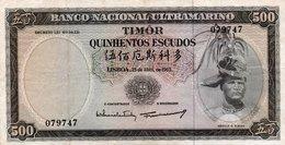 TIMOR=1963    500  ESCUDOS    P-29  Sign 9    Aunc - Timor