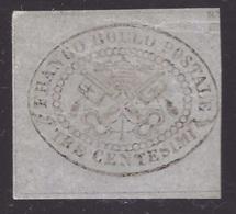 Stato Pontificio, 3 Centesimi Grigio Non Dentellato Del 1867 Nuovo * (certificato Diena)   -CC35 - Stato Pontificio