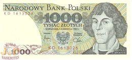 POLAND 1000 ZLOTYCH 1982 PICK 146c UNC - Pologne