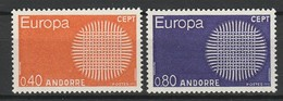 ANDORRE 1970 YT N° 202 Et 203 ** - Unused Stamps