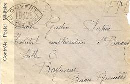 1940- Enveloppe De Oiron ( Deux-Sèvres) En F M Censure ID 125  Pour Bayonne - Postmark Collection (Covers)