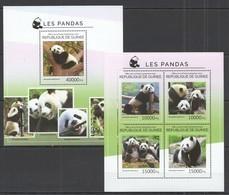 ST705 2014 GUINEE GUINEA FAUNA WILD ANIMALS BEARS PANDAS 1KB+1BL MNH - Bears