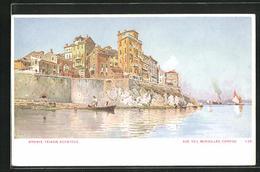 Künstler-AK Corfou, Vue Des Murailles, Häuser Am Wasser - Grecia