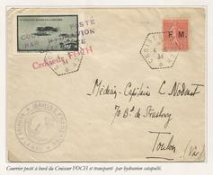 SEMEUSE 50C LIGNEE FM LETTRE C. HEX PERLE CROISEUR FOCH 4.5.1934 + COURRIER  POSTE HYDRAVION CATAPULTE + VIGNETTE - 1903-60 Säerin, Untergrund Schraffiert
