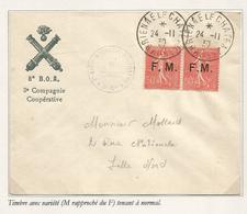 SEMEUSE 50C LIGNEE FMPAIRE VARIETE M RAPPROCHE TENANT A NORMAL LETTRE BRIENNE AUBE 24.11.1930 - 1903-60 Semeuse A Righe