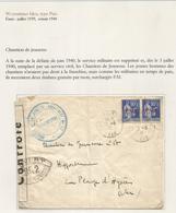 PAIX 90C FM PAIRE LETTRE Defaut LE LAVANDOU VAR 1941 + CHANTIERS DE JEUNESSE N°17+ CENSURE OC2 - Franchigia Militare (francobolli)