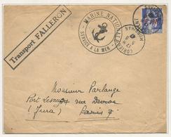 PAIX 90C FM LETTRE LORIENT MORBIHAN 5.8.1947 + GRIFFE TRANSPORT FALLERON - 1932-39 Paz