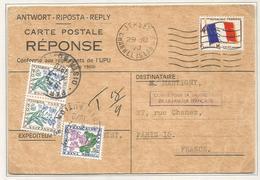 FM DRAPEAU N°13 CARTE REPONSE OBL MEC JERSEY CHANNEL ISLANDS POUR PARIS TAXE FLEURS 30CX2+1FR - Militärpostmarken