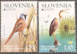Slowenien 2019 Mi.Nr. 1367-1368 MNH (**) Europa: Einheimische Vögel: Panurus Biarmicus, Ardea Purpurea - Slovenia - Slovenia