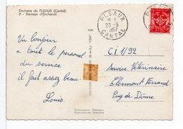 FRANCE - CACHET : PLEAUX (CANTAL) Sur Timbre FM / CP BARRAGE D'ENCHANET - Marcophilie (Lettres)