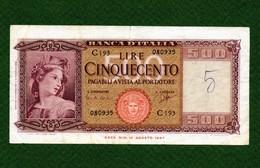 MB-IT 500 Lire Medusa Ornata Di Spighe Decr. Min.  23/03/1961 - [ 2] 1946-… : République