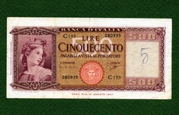 MB-IT 500 Lire Medusa Ornata Di Spighe Decr. Min.  23/03/1961 - [ 2] 1946-… : Repubblica