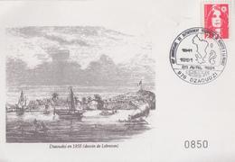 Carte  MAYOTTE   150éme  Anniversaire  Du   Rattachement  De  MAYOTTE  à  La  FRANCE    DZAOUDZI  1991 - Mayotte (1892-2011)