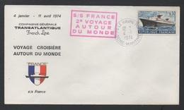 PAQUEBOT FRANCE - POSTE MARITIME / 1974 VOYAGE AUTOUR DU MONDE ENVELOPPE NUMEROTEE (ref L1) - Posta Marittima