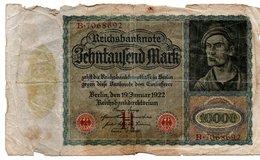 Reichsbanknote 1922 Zehntausend 10.000 Mark (pü3290) - [ 3] 1918-1933 : República De Weimar