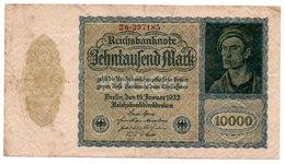 Reichsbanknote 1922 Zehntausend 10.000 Mark (pü3291) - 1918-1933: Weimarer Republik