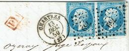 28 EURE ET LOIRE CHARTRES LACTAD 15 Du 13/12/1859 PC 759 Sur Paire N° 14 PD Pour La Belgique TTB - Postmark Collection (Covers)