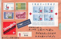 Croix Rouge - Suisse - Lettre Recom De 1963 ° - Oblit Lugano - Ponts - Lutte Contre La Faim - Trains - Cartas