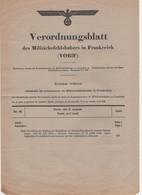 WW2 - Verordnungsblatt Des Militärbefehlshabers In Frankreich. Journal Officiel N°95 Du 5 Août 1943, 4 Pages - Documents Historiques