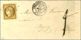 PC 704 / N° 1 Superbes Marges Càd T 15 CHALONS-S-MARNE (49) Sur Lettre 2 Ports Insuffisamment Affranchie Pour Pogny, Au  - 1849-1850 Ceres