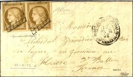 Grille / N° 1 Paire, Superbes Marges Càd COR.EXPED D'ITALIE / Qer GENERAL 19 FEVR. 52 Sur Lettre Avec Texte Daté De Rome - 1849-1850 Cérès