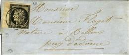 Càd T 15 LE HAVRE (74) 1 JANV. 49 / N° 3 Bdf Sur Lettre Avec Texte Daté Du Havre Le 1 Janvier 1849 Pour Billon, Au Verso - 1849-1850 Ceres