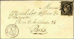 Plume + Càd T 15 BAR-S-SEINE (9) 8 JANV. 49 / N° 3 Sur Lettre Pour Paris. - SUP. - R. - 1849-1850 Cérès
