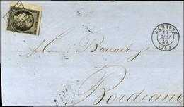 Grille / N° 3 Bdf Càd T 15 LE HAVRE (74) Sur Lettre Légèrement Incomplète Pour Bordeaux. - TB. - 1849-1850 Cérès