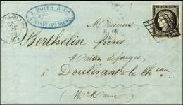 Grille / N° 3 Noir Intense Sur Blanc Belles Marges Càd T 15 WASSY-S-BLAISE (50) Sur Lettre Avec Texte Pour Doulevant. 18 - 1849-1850 Ceres