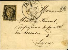 Grille / N° 3 Noir Sur Chamois Càd T 13 PEZENAS (33). 1850. - TB / SUP. - 1849-1850 Ceres