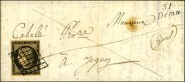 Grille / N° 3 Belles Marges Nuance Chamois Cursive 31 / Demu Sur Lettre Avec Texte Daté De Bascou Le 5 Décembre 1849 Adr - 1849-1850 Cérès