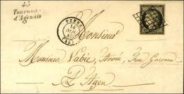 Grille / N° 3 Càd T 15 PENNE (45) Cursive 45 / Tournon / D'Agenais Sur Lettre Avec Texte Pour Agen. 1849. - SUP. - R. - 1849-1850 Ceres