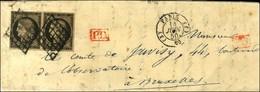 Grille / N° 3 Paire Càd (J) PARIS (J) 60 Sur Lettre Pour Bruxelles. 1850. - TB / SUP. - R. - 1849-1850 Cérès