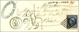 Grille / N° 4 Petit Bdf Et Très Belles Marges Càd T 14 AUCH (31) Sur Lettre 2 Ports Insuffisamment Affranchie Pour Paris - 1849-1850 Ceres