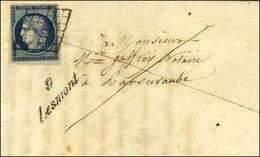 Grille / N° 4 Belles Marges, Cursive 9 / Lesmont Sur Lettre Avec Texte Pour Bar Sur Aude. Au Verso, Càd D'arrivée. 1851. - 1849-1850 Ceres