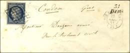 Grille / N° 4 Càd T 15 VIC FEZENSAC (31) Cursive 31 / Demu Sur Lettre Pour Condom. 1851. - TB / SUP. - R. - 1849-1850 Ceres