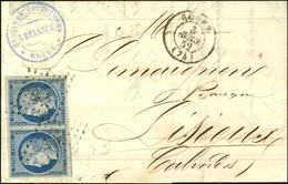 PC 2738 / N° 4 Paire Très Belles Marges Càd T 15 ROUEN (74) Sur Lettre 2 Ports Pour Lisieux. 1852. - TB / SUP. - 1849-1850 Cérès