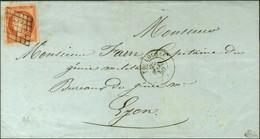 Grille / N° 5 Orange Vif Càd T 15 TOULOUSE Sur Lettre 2 Ports Pour Lyon. 1850. - TB / SUP. - R. - 1849-1850 Cérès