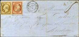 PC 1182 / N° 5 + 9 Les 2 Ex Belles Marges Càd T 15 ENVERMEU (74) Sur Lettre 2 Ports Pour Bordeaux. 1853. - TB / SUP. - R - 1849-1850 Ceres