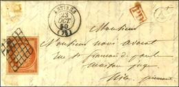 Grille / N° 5 Orange Vif (belles Marges) Càd T 15 ANTIBES (78) 23 OCT. 50 Sur Lettre Au Tarif Frontalier Pour Nice (Piém - 1849-1850 Cérès