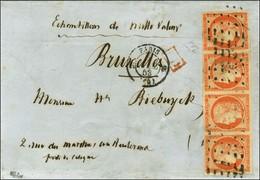 Rouleau De Points / N° 5 Bande De 4 Belles Marges Càd PARIS (60) Sur Lettre Au Quadruple Port Pour La Belgique. 1853. -  - 1849-1850 Cérès